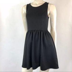 H&M Divided Black Skater Dress Zipper Closure